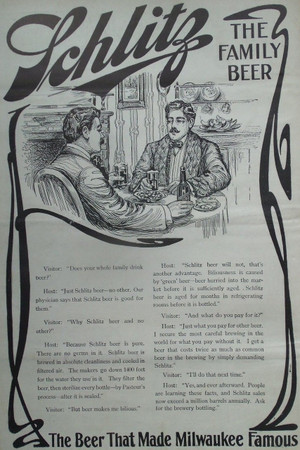 1903 Full Page Ad for Schlitz: The Family Beer