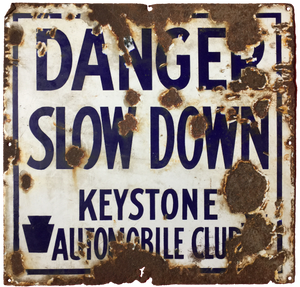 Porcelain Keystone Auto Club Sign