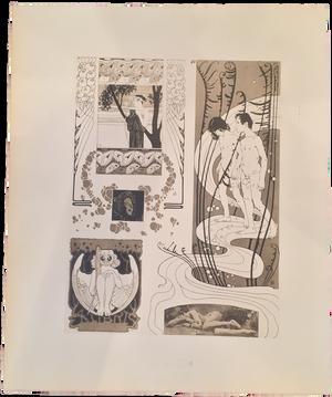 Rare Koloman Moser Prints, Ex Libris, Plate 30
