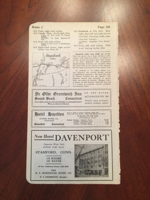1924 Stamford, Connecticut Hotel Ads, Map