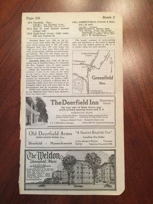 1924 Warehouse Point, CT and Greenfield, MA Hotel Ads and Map