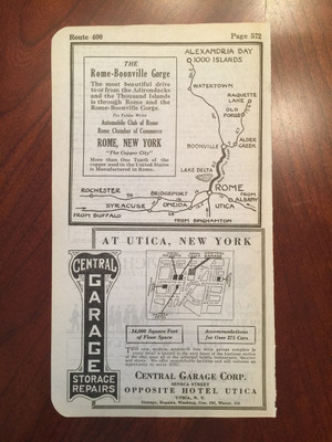 1924 Herkimer, Little Falls, and Newport, NY Hotel Ads; Rome-Boonville Gorge Map