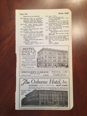 1924 Auburn and Seneca Falls, NY Hotel and Garage Ads