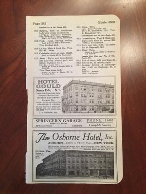 1924 Auburn and Seneca Falls, NY Hotel and Garage Ads