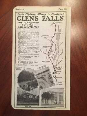 1924 Full Page Glens Falls Ad with Map and Photos, Hotel, Shops on Back