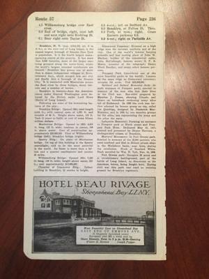 1924 Sheepshead Bay, Long Island Ad for Hotel Beau Rivage