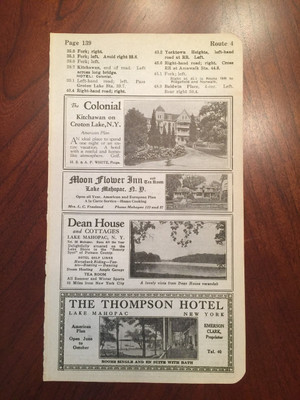 1924 Lake Mahopac, Croton Lake, and Amenia, NY Hotel Ads