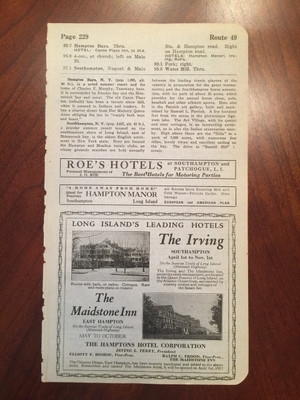 1924 Long Island Hotel and Garage Ads