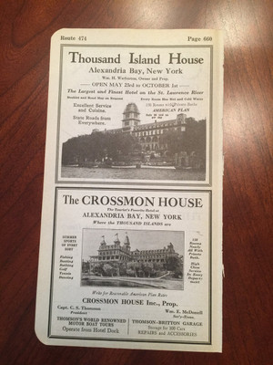 1924 Hotels Ads, Thousand Islands, NY