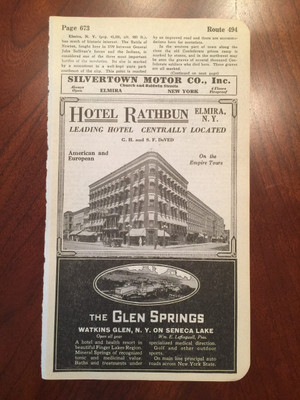 1924 Ads for The Glen Springs Resort; Elmira, NY Hotel Ads and Map