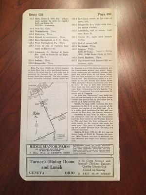 1924 Geneva, OH Restaurant Ads; Erie, PA Map; Westfield, NY Hotel Ad