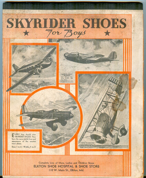 1930s Advertising Composition Pad for Skyrider Shoes, Elkton Maryland
