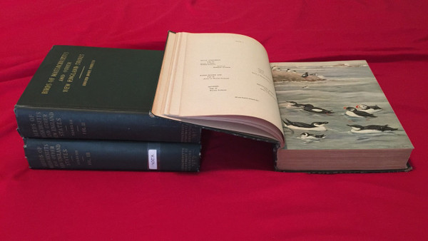 Three volume set, showcasing a color plate image of sea birds in volume one.