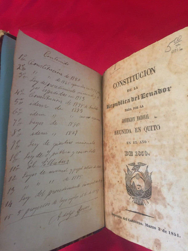 The first page of the earlier book, containing Torres' signature after a handwritten table of contents.