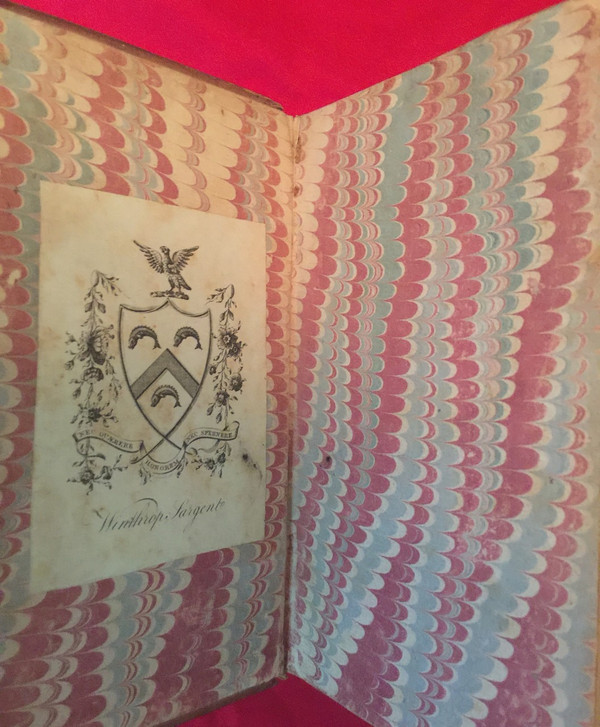 Inside cover, showing Winthrop Sargent's family crest.