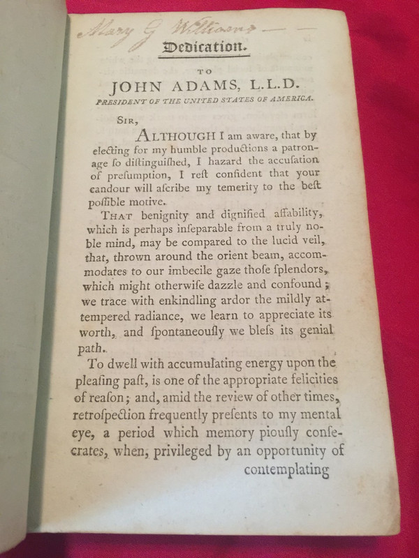 Dedication, to President John Adams, with signature of Mary G. Williams.