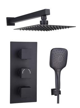 Victoria Square Black Concealed Shower Kit