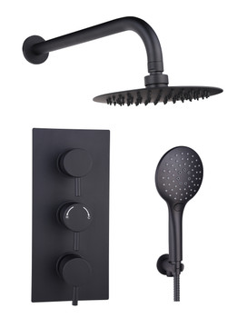 Victoria Round Gunmetal Concealed Thermostatic  Shower Kit