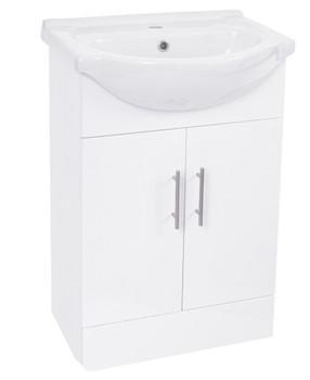 Milan White Vanity Unit/Basin 550