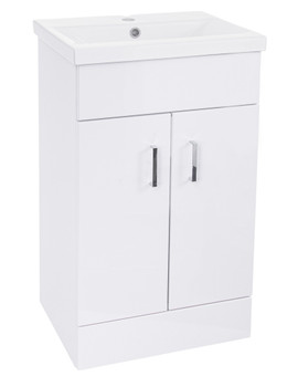 Rome 500mm High Gloss White Floor Standing Unit And Basin