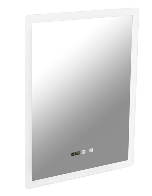 Cairo Led Mirror With Clock Portrait