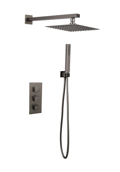 Victoria Square Gunmetal Concealed Thermostatic  Shower Kit