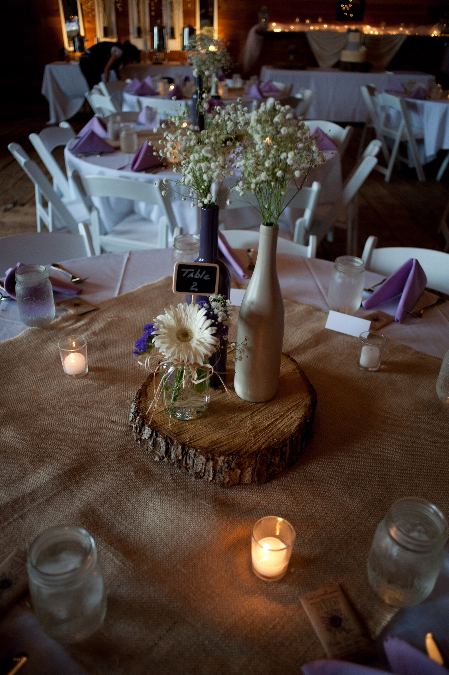 tressa marie photography  table centerpiece with baby's breath