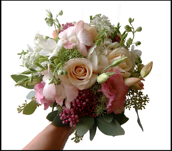 Pink Dendrobium Orchids, Ivory Roses, Freesia, Lisianthus