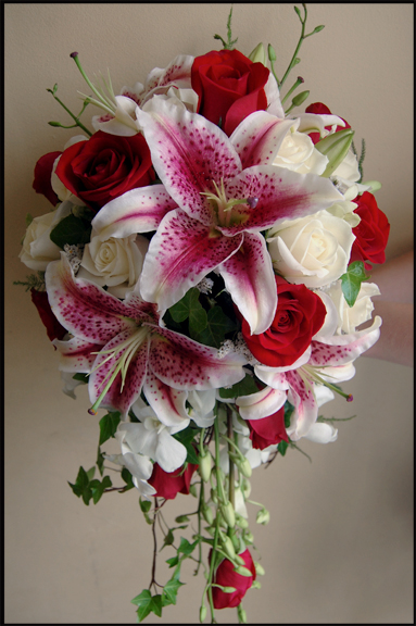 Stargazer Lilies, Red and White Roses, Dendrobium Orchids