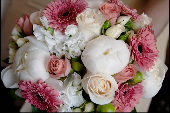 Creative Photography Bridal Bouquet with gerbera daisies, roses and peonies