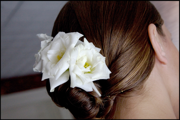 Creative Photography- white lisianthus hair flowers