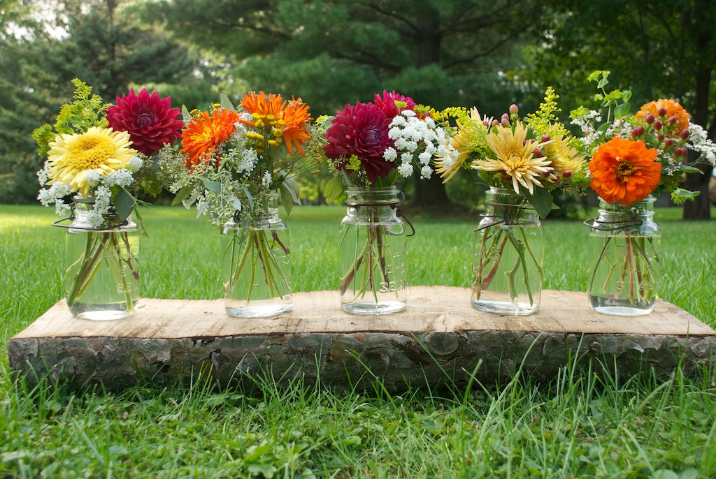 simple mason jars with mums, dahlias and zinnias