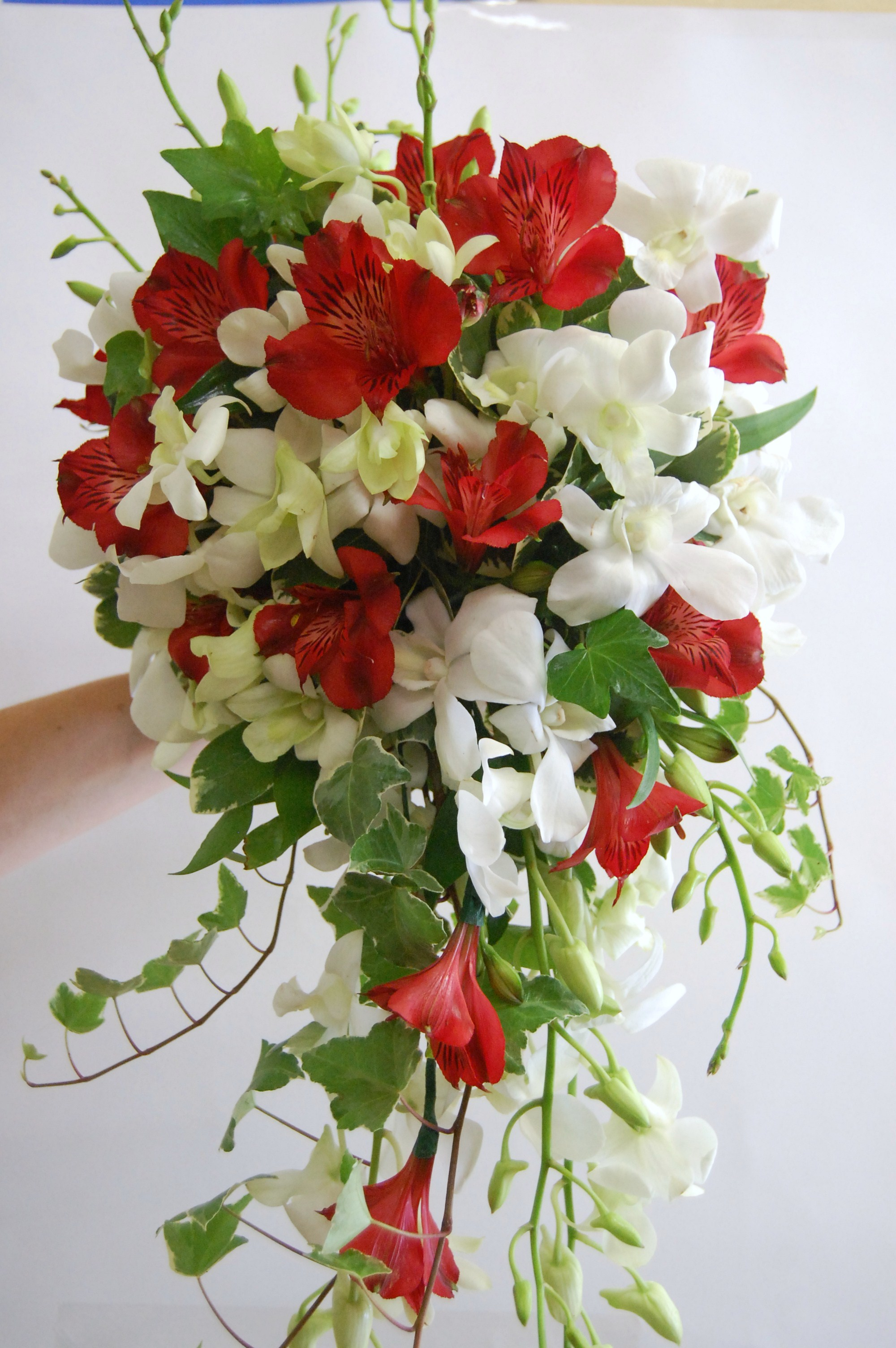 Cascade style with orchids and red alstroemeria