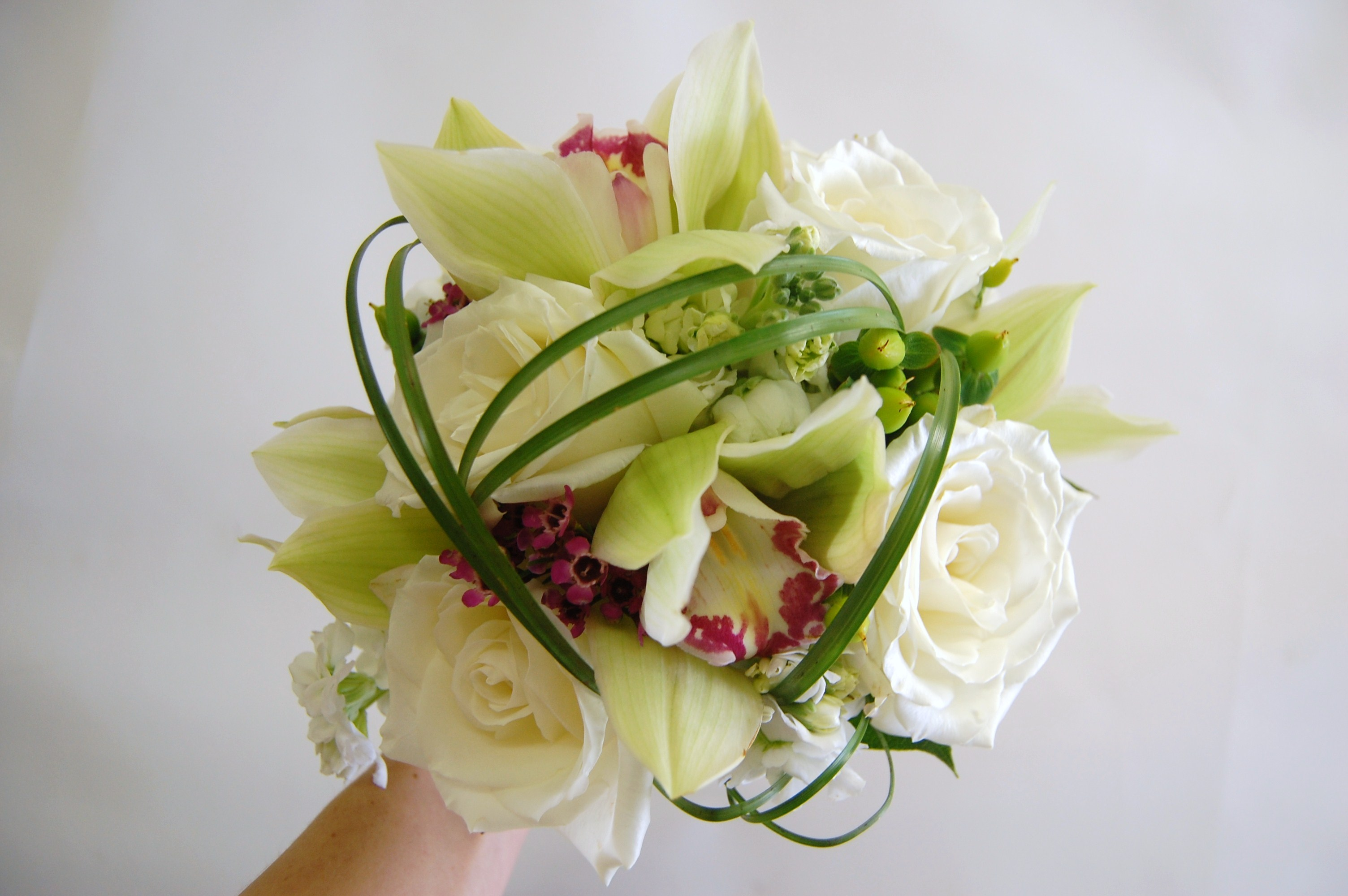 orchids, roses, bear grass