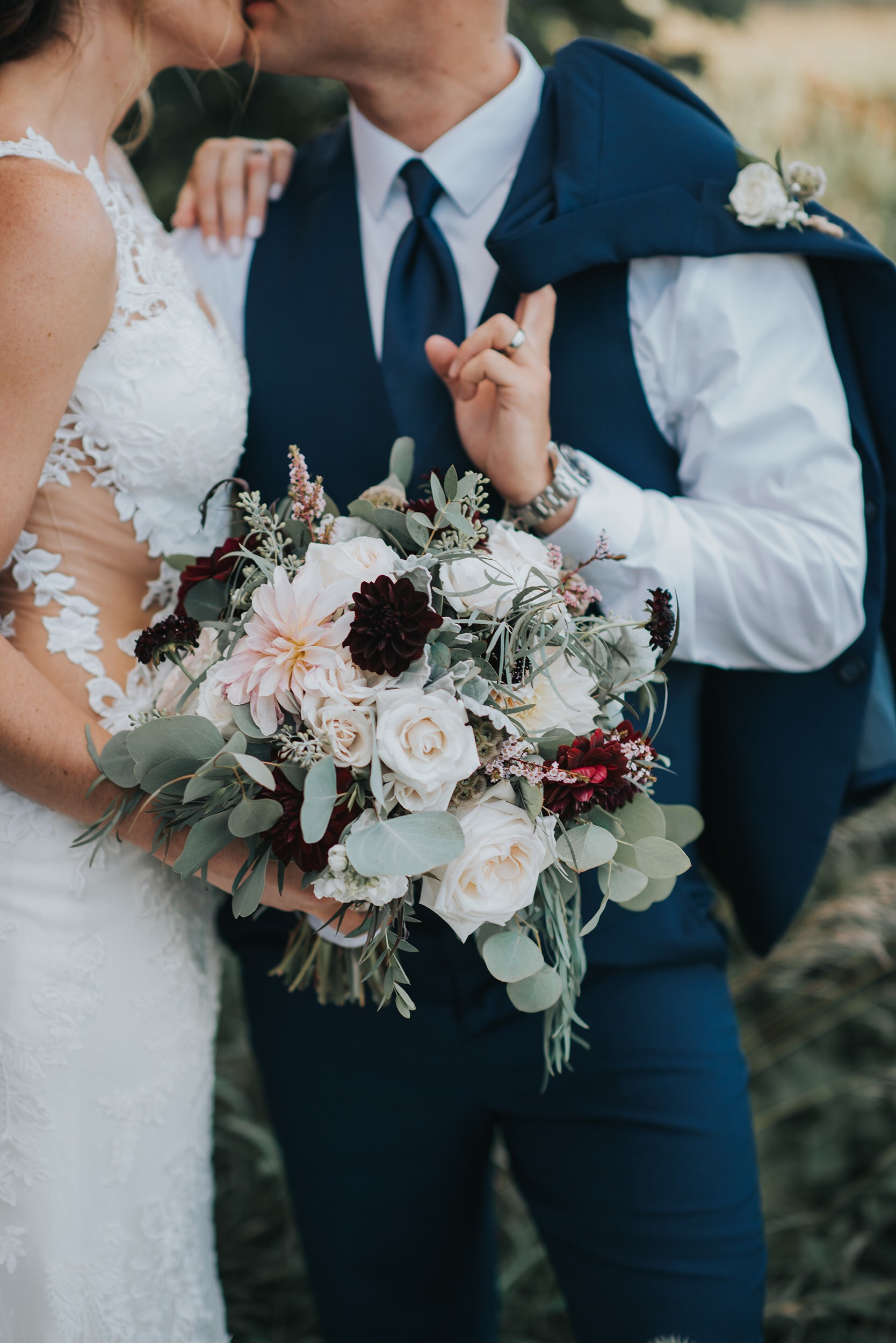 Neutrals with greenery and burgundy dahlias