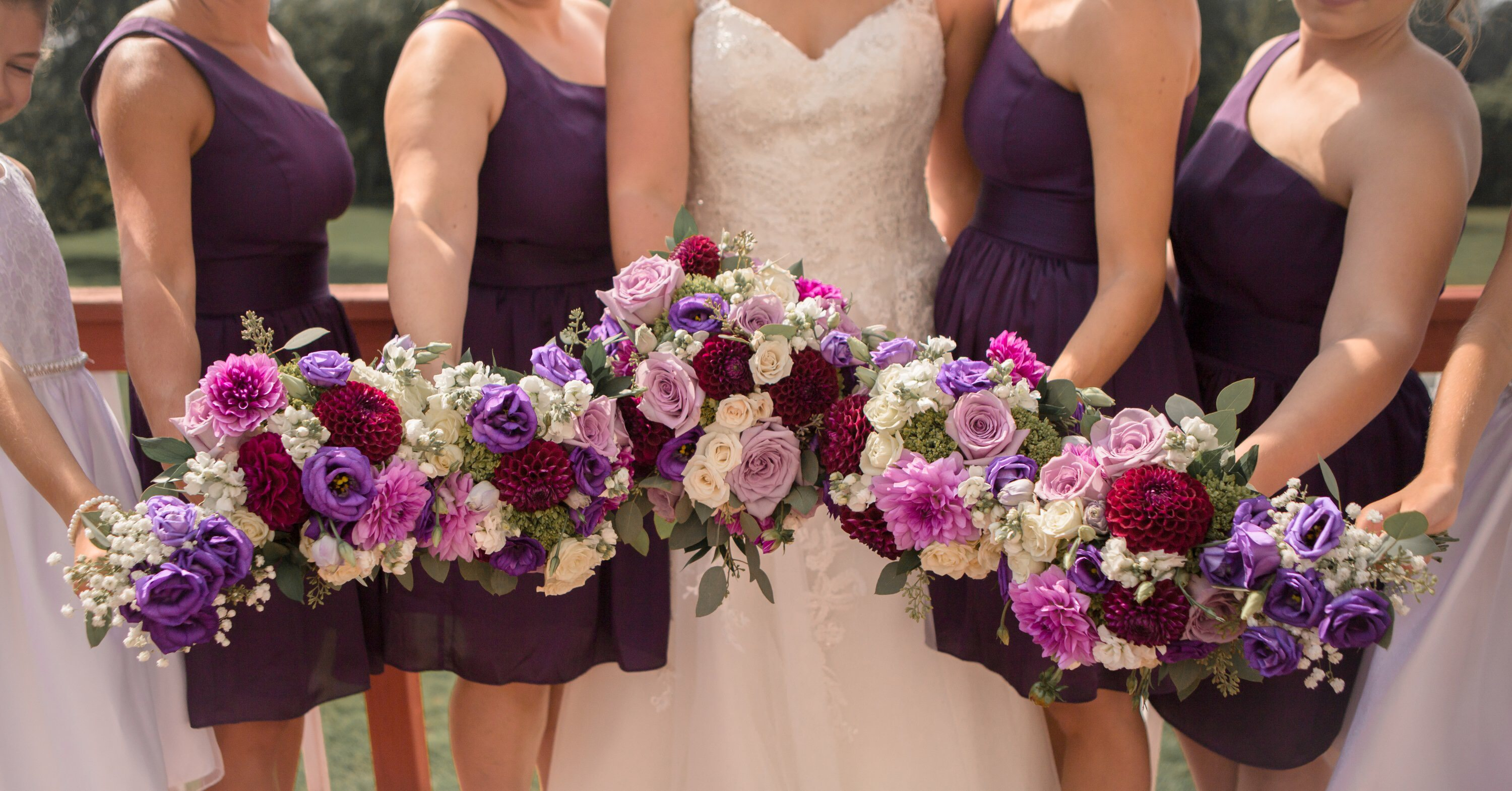 purple dahlias,stock, lisianthus