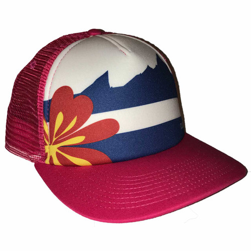 Colorado Flag Trucker Hat in Pink by outdoor DIVAS