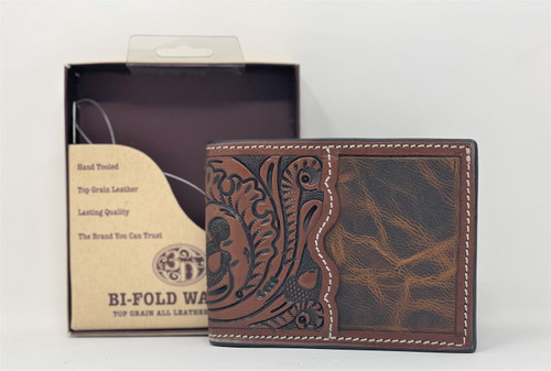 3-D Hand Tooled Leather Bi-Fold Wallet