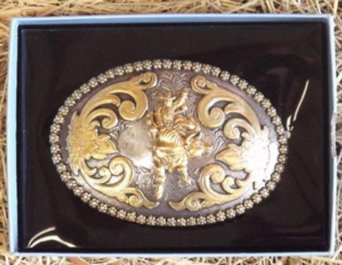 Nocona Berry/Bull Rider Western Belt Buckle