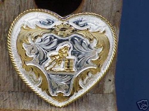 German Silver Heart/Barrel Racer Belt Buckle