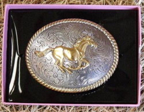 Nocona Running Horse Western Belt Buckle