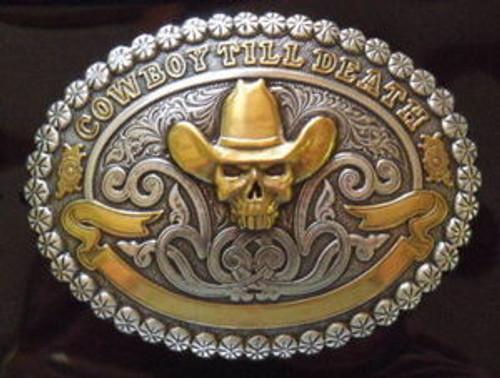 Crumrine Cowboy Till Death Skull Belt Buckle