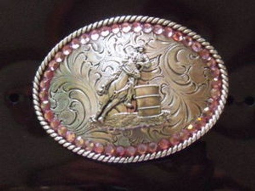 Nocona Girl's Pink Barrel Racer Belt Buckle