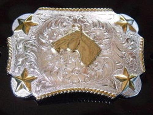 Nocona Kid's G/S Horse Head Western Belt Buckle