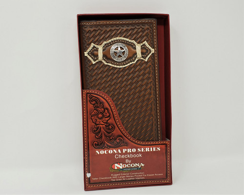 Nocona Leather Basketweave Star Rodeo Wallet/Checkbook