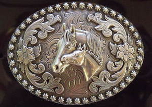 Nocona Mare And Colt Western Belt Buckle