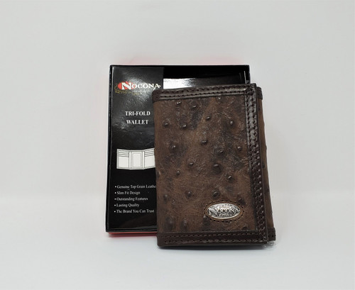 Nocona Leather Ostrich Print Tri-Fold Wallet
