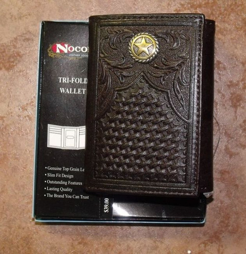Nocona Lone Star Tooled Leather Tri-Fold Wallet