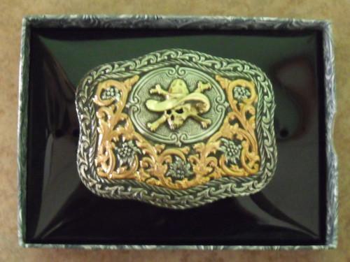 Crumrine Cowboy Skull Western Belt Buckle