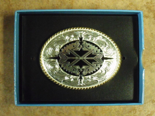 Gold/Silver Tone Aztec Belt Buckle